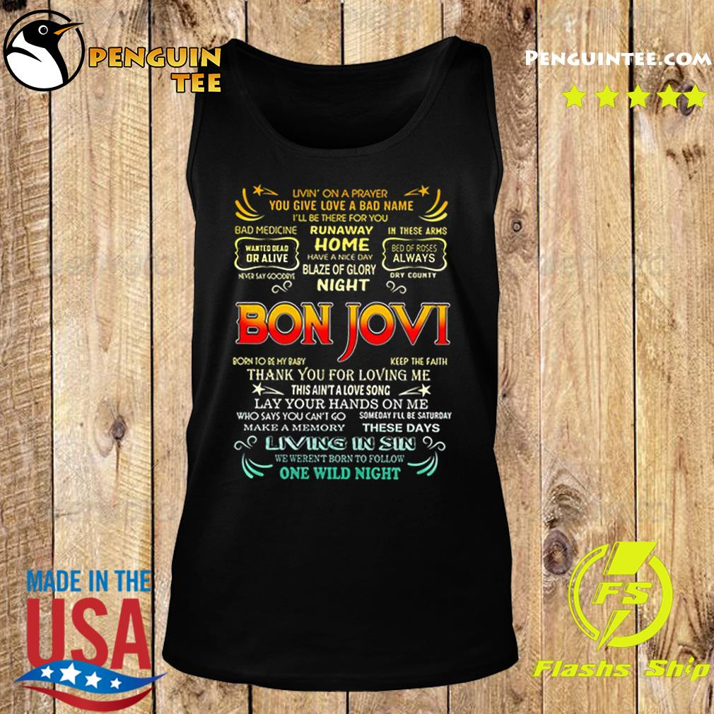 Bon Jovi livin' on a prayer you give love a bad name s Tank top